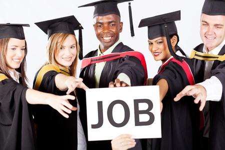 diverse students: group of graduates grab job