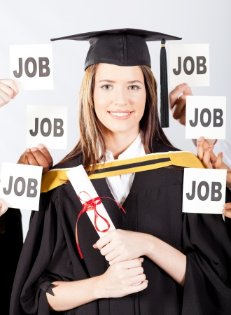 successful female university graduate with job offers photo