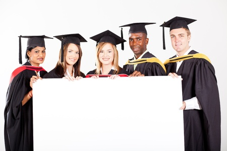 graduates: group of graduates with white board Stock Photo