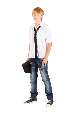 teenagers standing: teen boy full length portrait isolated on white