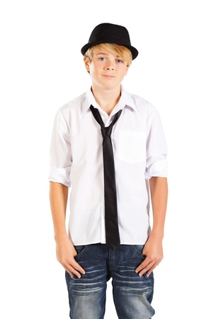 handsome teenage boy half length portrait on white Stock Photo - 13103455
