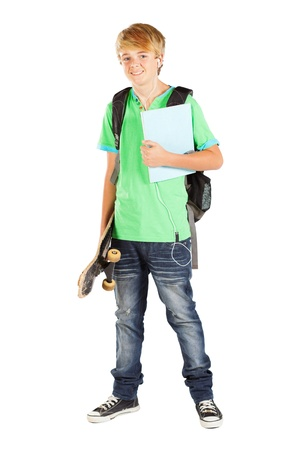 preteen boys: male teen student full length portrait on white