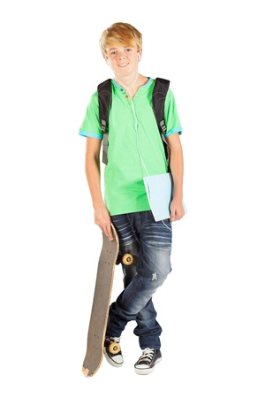 skateboarder: male teen student isolated on white