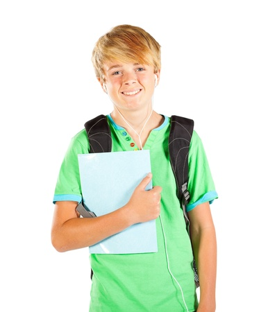 male teen student half length portrait isolated on white Stock Photo - 13103453