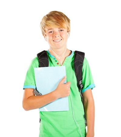 half  length: male teen student half length portrait isolated on white