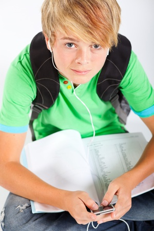 teen boy with mp3 player Stock Photo - 13104284