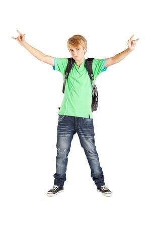 teen boy full length portrait over white background photo