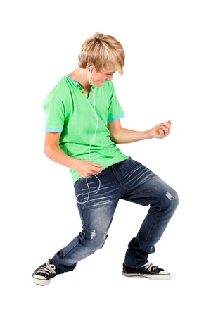 listen to music: teen boy playing air guitar Stock Photo