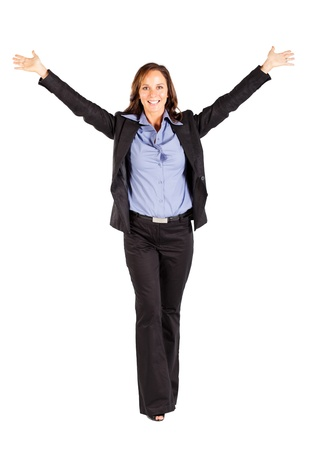 cheerful businesswoman with arms open photo