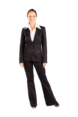 middle aged businesswoman full length portrait on white photo