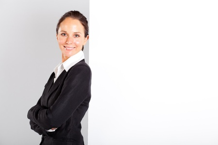 businesswoman standing next to white board Stock Photo - 13239038