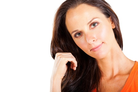 pretty middle aged woman closeup portrait photo