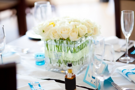 reception desk: table set for a wedding Stock Photo