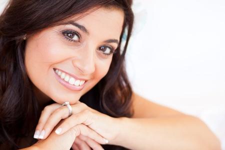 diamond rings: beautiful bride closeup portrait Stock Photo