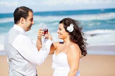 groom and bride drinking  champagne on beach  photo