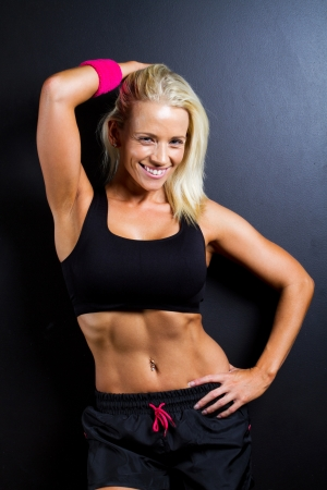 fitness woman on black background Stock Photo - 13738337