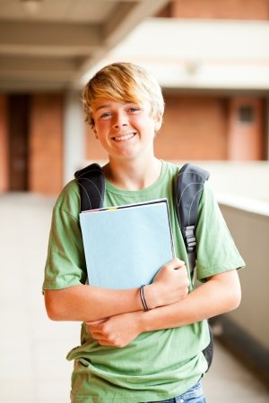 male teen student portrait in school photo
