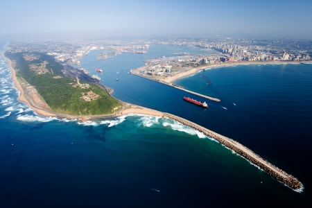overall: vista general a�rea de Durban, Sud�frica Foto de archivo