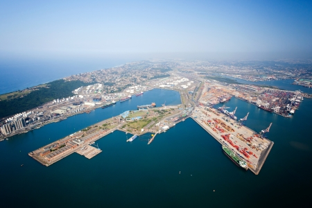 overhead view of durban harbor, south africa Stock Photo - 13738361