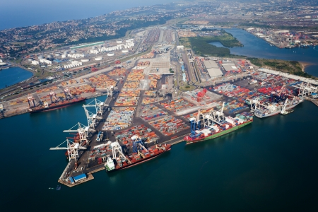 shipping port: above view of durban harbor, south africa