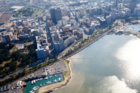 overhead view of durban city cbd, south africa photo