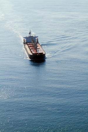 aerial view of ship on ocean photo