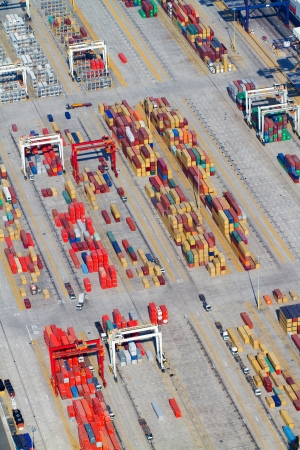 aerial view of containers stacking in Durban harbour, South Africa photo