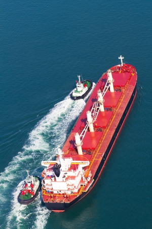 overhead view of ship sailing on ocean photo