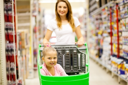 mother and daughter walking in shopping mall aisle photo