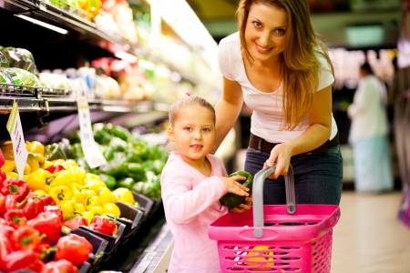 mother and daughter shopping in supermarket photo