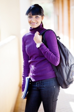 college campus: pretty female indian university student on campus