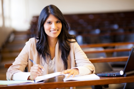 uni: beautiful female indian college girl in lecture hall