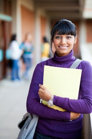 cute indian high school girl in school photo