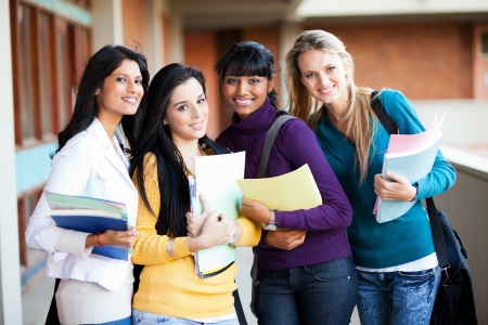 indian school girl: group of female multiracial college students portrait