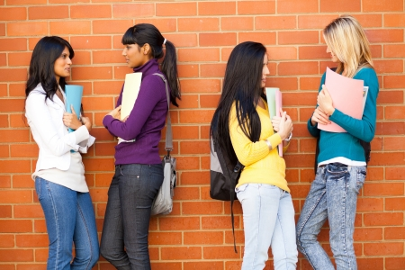 young female college friends chatting  Stock Photo - 14669261