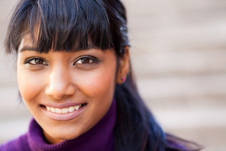 woman face close up: young indian woman face closeup Stock Photo