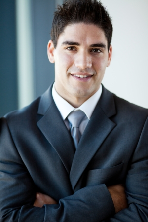 handsome young businessman closeup portrait photo
