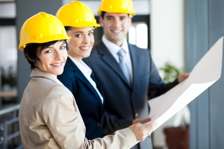 executive helmet: group of professional construction managers