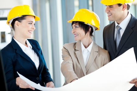 hat project: group of happy construction businesspeople interacting