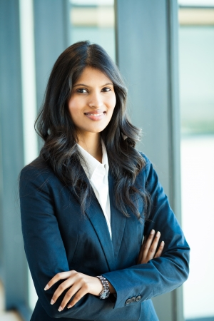 indian blue: attractive female white collar worker in office Stock Photo