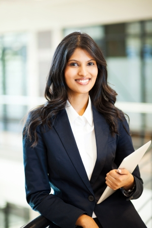 indian girl: pretty asian businesswoman with tablet computer Stock Photo