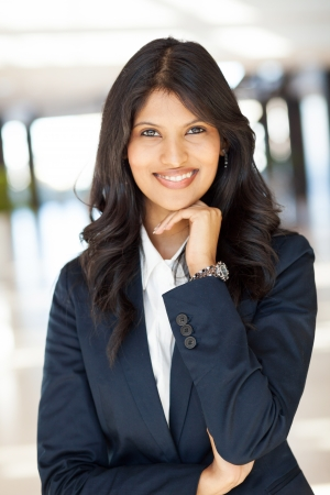 half dressed: pretty young indian businesswoman portrait Stock Photo