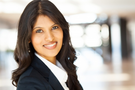 indian blue: attractive young asian businesswoman closeup portrait