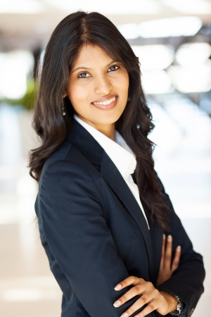 pretty indian businesswoman half length portrait  photo