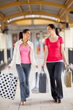 two young women walking with shopping bags Stock Photo - 15401264