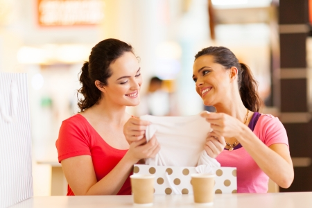 two friends talking: young women checking clothes that just bought