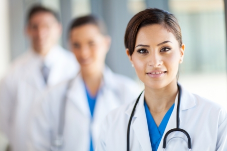 clinical staff: beautiful healthcare workers portrait in hospital Stock Photo