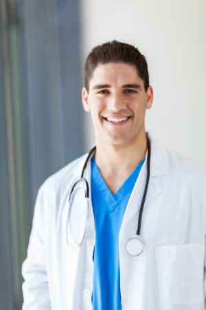 half  length: handsome medical doctor half length portrait in office Stock Photo