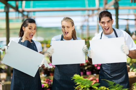 smiling woman in a greenhouse: group of funny nursery workers with white board in greenhouse
