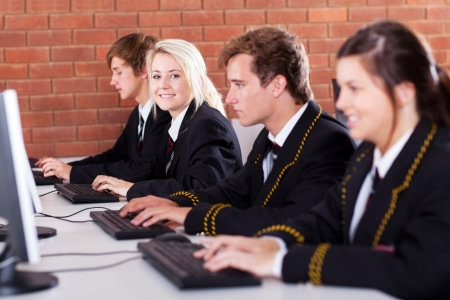 group of high school students using computers in classroom Stock Photo - 15893302